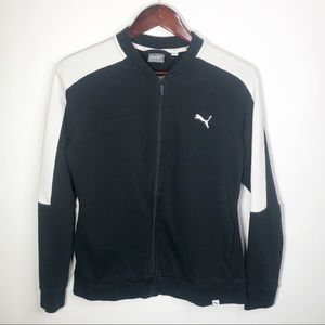 Puma Zip Up Bomber Jacket Black White Large